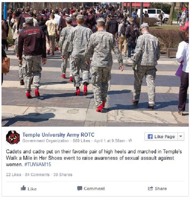 Temple U Army ROTC red high heels
