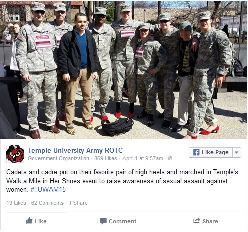 Temple U Army ROTC red high heels2